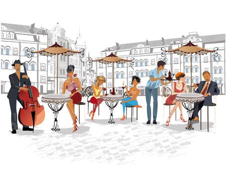 Serie de las calles con la gente en la ciudad vieja. Los camareros sirven las mesas. Café de la calle. músicos de la calle. Foto de archivo - 60164114