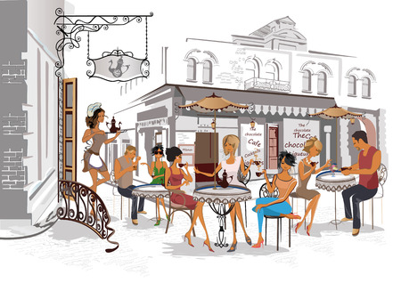 Series of the streets with people in the old city. Waiters serve the tables. Street cafe. Ilustração