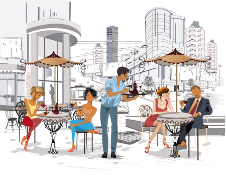 serve: Series of the streets with people in the old city. Waiters serve the tables. Street cafe. Illustration