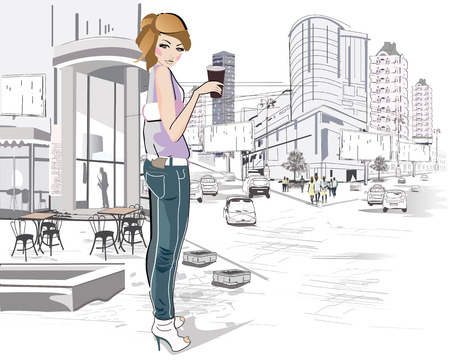 old city: Fashion young girl drinking coffee in the street of old city. Vintage background decorated with a retro car.
