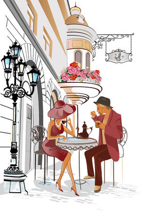 Man and woman sitting and drinking coffee in a street cafe. Background decorated with flowers, old town view.