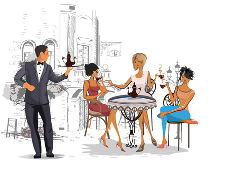 facade building: Series of the streets with people in the old city. Waiters serve the tables. Street cafe. Illustration