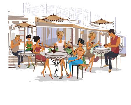 pareja comiendo: Serie de gente de la moda, hombres y mujeres, sentado y bebiendo café en el café de la calle.