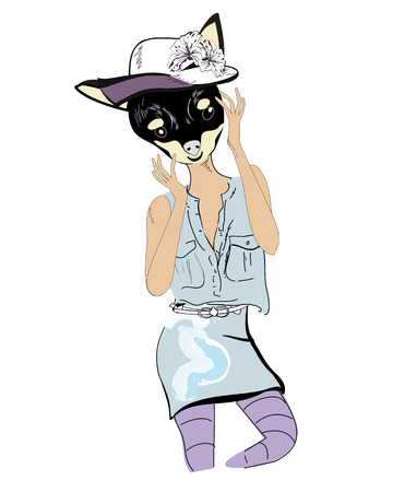 jeans skirt: Cute fashion dog in hat and jeans skirt and shirt. Illustration