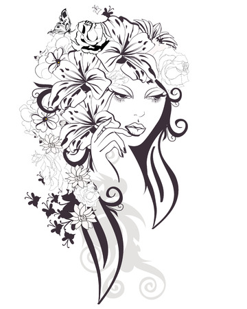 Sketch of young woman with flowers and butterflies. A beautiful girls face. illustration.