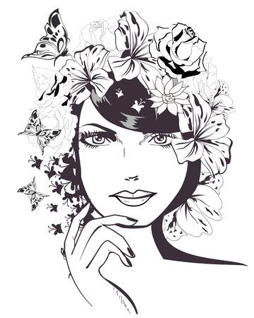 Croquis de jeune femme avec des fleurs et des papillons. Le visage d'une belle jeune fille. illustration.