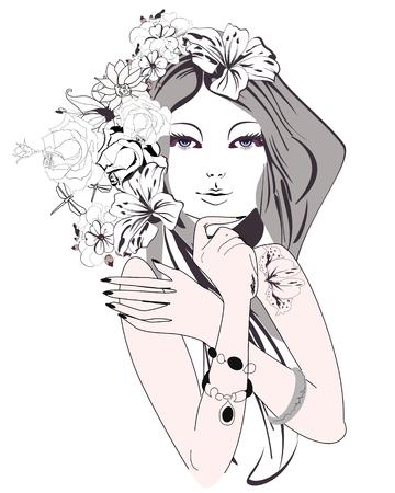 꽃과 나비와 함께 아름 다운 젊은 여자의 스케치입니다. 아름다운 여자의 얼굴. 삽화.
