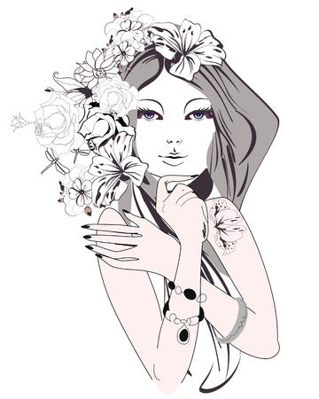 Sketch of young beautiful woman with flowers and butterflies. A beautiful girls face. illustration.