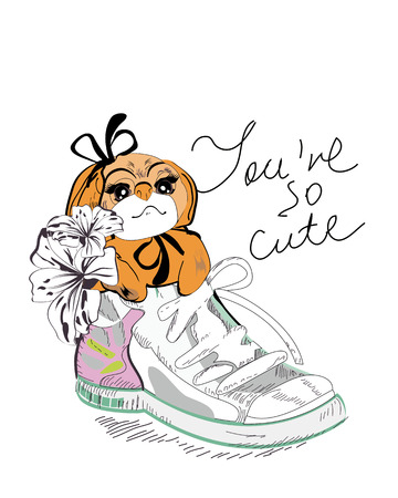 little dog: A cute little dog in a sneaker. Illustration