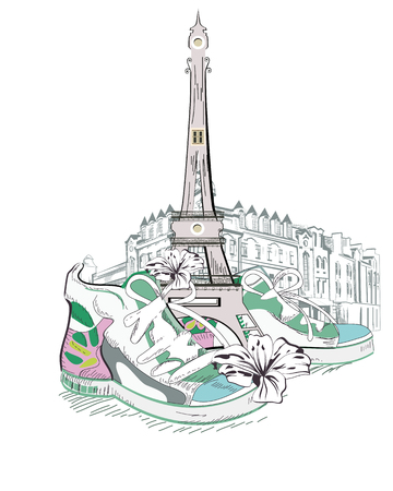 Travel in sneakers through France. The Eiffel Tower.