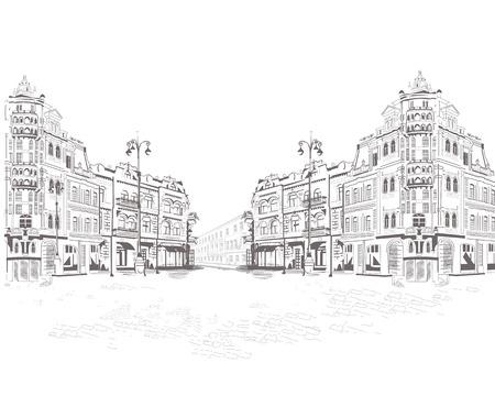 Serie de vistas de la calle en la ciudad vieja. fondo arquitectónico de edificios históricos.