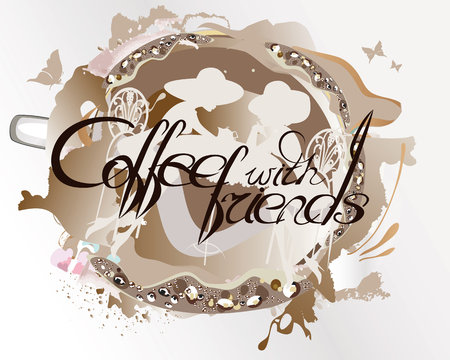 Abstract coffee watercolor backround with girls in the street cafe. Coffee with friends.