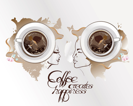 offee cup on an abstract watercolor background with a couple. Concept of communication. Coffee creates happiness.