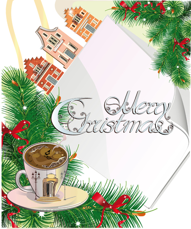 holiday message: Christmas card with a place for a holiday message and a coffee cup, old houses.