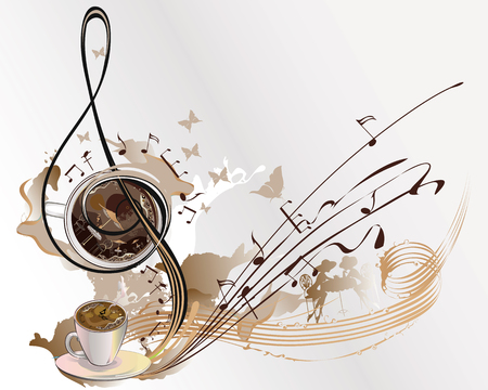 Abstract coffee music with cups of coffee, splashes, butterflies, notes. Ilustracja
