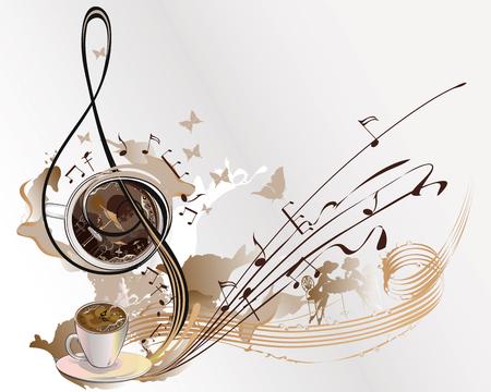 Abstracte koffie muziek met kopjes koffie, spatten, vlinders, notities.