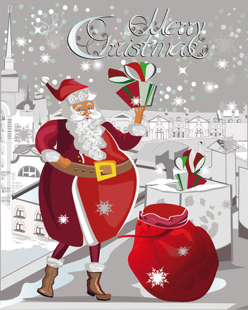 greeting christmas: Santa Claus puts the gifts into the chimneys. Christmas greeting card background poster. illustration.
