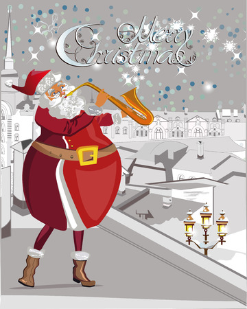 greeting christmas: Santa plays the trumpet, blowing snowflakes, on the roof. Christmas greeting card background poster. illustration.