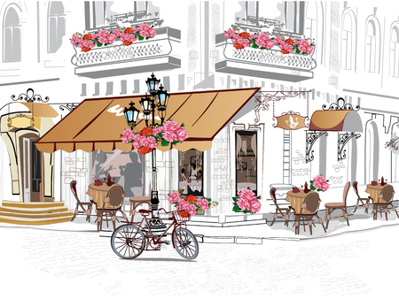 Series of backgrounds decorated with flowers, old town views and street cafes Vectores