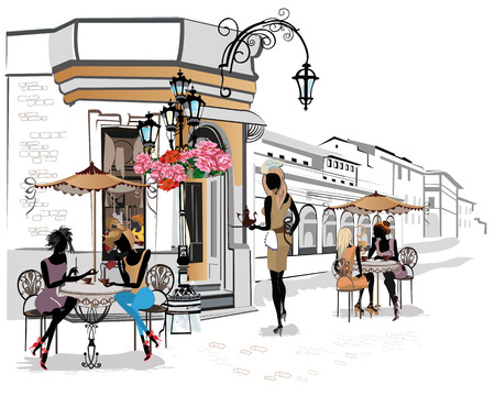 Series of the streets with people in the old city. Waiters serve the tables. Street cafe. Illustration