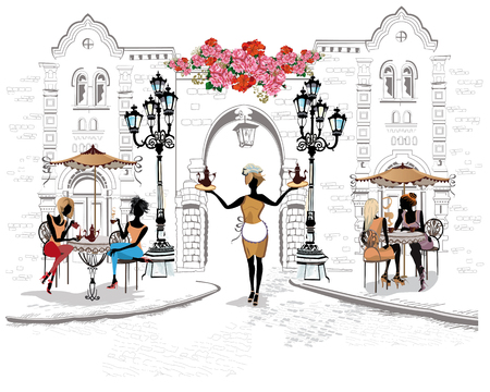 Series of the streets with people in the old city. Waiters serve the tables. Street cafe. Stock Illustratie