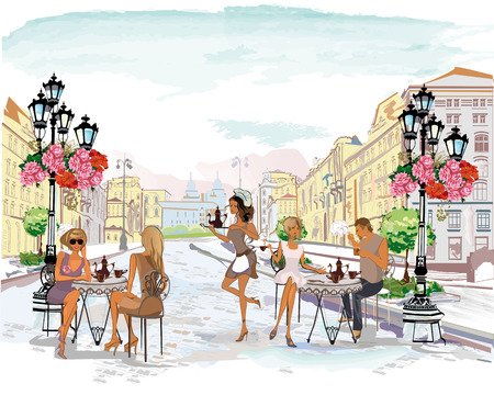 Series of the street cafes with people, men and women, in the old city, watercolor vector illustration. Waiters serve the tables. Vettoriali