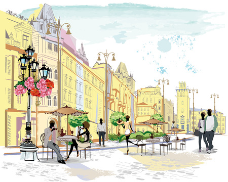 Series of the street cafes with people, men and women, in the old city, watercolor vector illustration. Waiters serve the tables. Çizim