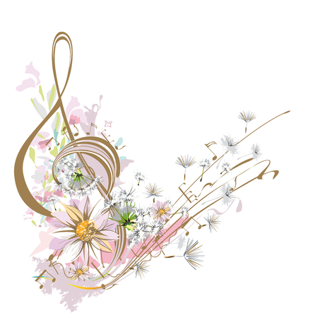Abstract watercolor treble clef with splashes, dandelions, chamomiles. Light music. Vector illustration.