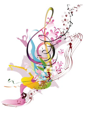 dance music: Abstract watercolor treble clef with splashes, flowers and dancing people. Vector illustration.