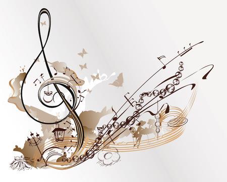 休日の音楽。抽象的なト音記号のクリスマスのおもちゃ、蝶、ノート飾られています。
