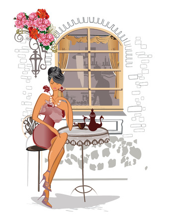 Fashion girl in the street cafe.  イラスト・ベクター素材
