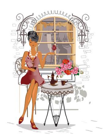 pareja comiendo: chica de moda en el café de la calle.
