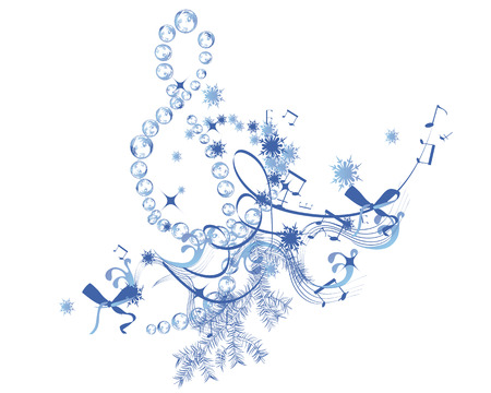 Winter music. Abstract treble clef decorated with snowflakes and notes.
