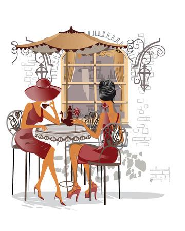pareja comiendo: Serie de los cafés de la calle con la gente de la manera mujeres de la ciudad antigua, ilustración vectorial acuarela.