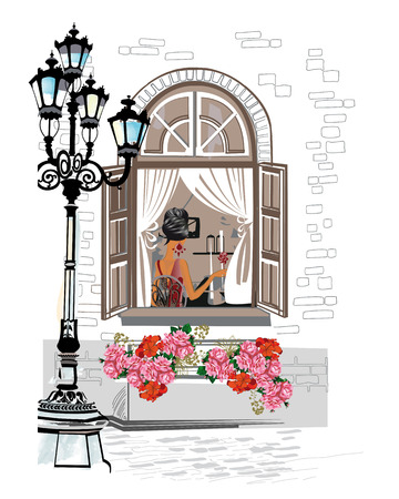 old town: Series of backgrounds decorated with flowers, old town views and street cafes. Hand drawn Vector Illustration.
