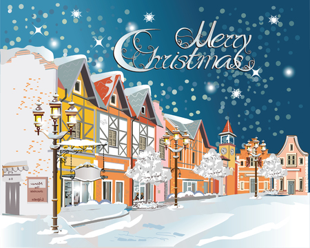 snow landscape: Christmas greeting card. Snow-covered street in the old town. Vector Illustration.