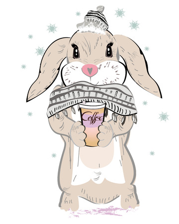 cute graphic: Cute bunny in knitted scarf and hat drrinking coffee. Vector illustration. Hand drawn graphic, kid print Illustration