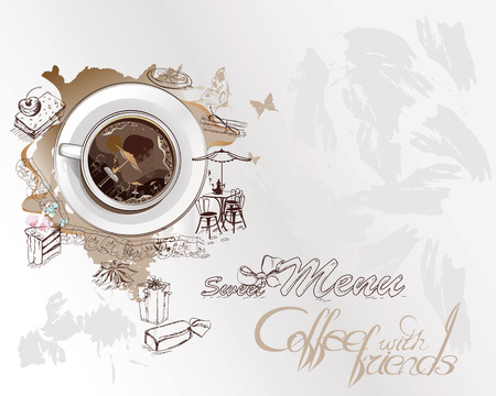 expresso: Abstract coffee music with cups of coffee, sweets, splashes, butterflies, notes.