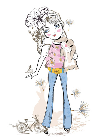bunny girl: Cute fashion girl with a bunny. Girl in jeans. Hand drawn Vector Illustration.