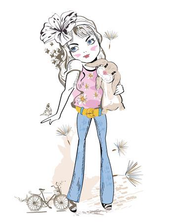 femme dessin: Cute girl de la mode avec un lapin. Girl in jeans. Hand drawn Vector Illustration. Illustration