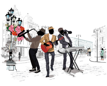 facade building: Series of the streets with musicians in the old city.