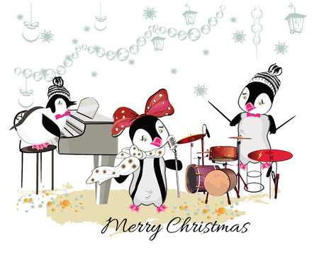 christmas cute: Series of cute penguins playing musical instruments. Christmas card.