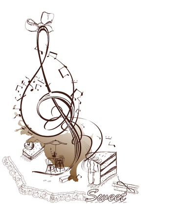 Sweet music. Abstract treble clef decorated with notes, sweets and cafe.Hand drawn illustration. Illustration