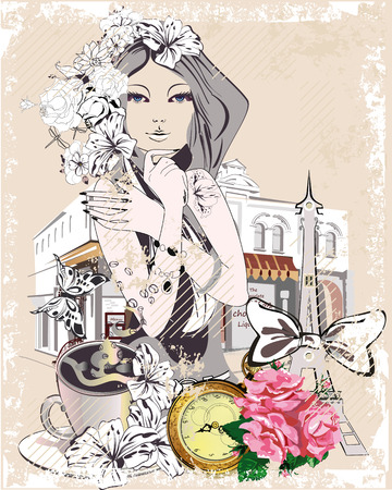 Fondo con una chica, flores, la torre Eiffel, una taza de café, rosas y un café de la calle. Dibujado a mano ilustración vectorial.