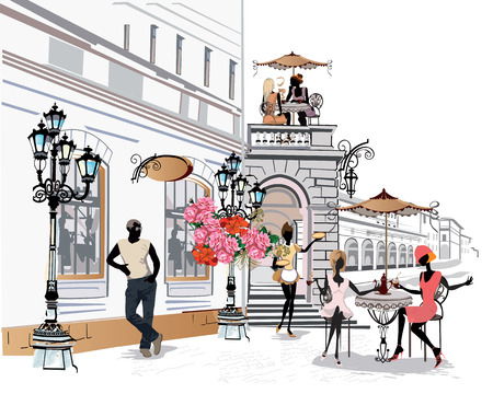 fashion building: Series of the street cafes with fashion people women in the old city