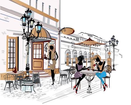 pareja comiendo: Serie de los cafés de la calle con la gente de la moda las mujeres en la ciudad vieja