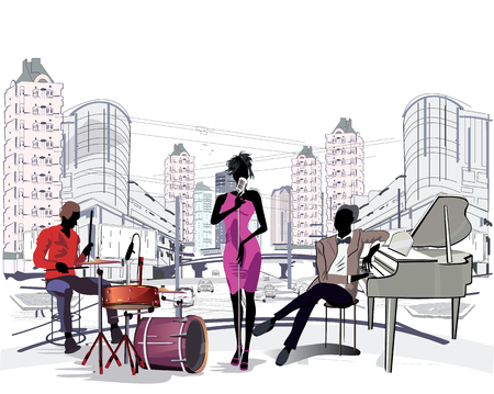 fashion design: Series of the streets with musicians in the old city.