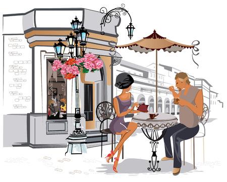 pareja comiendo: Serie de los cafés de la calle con la gente de la manera mujeres de la ciudad vieja. Vectores