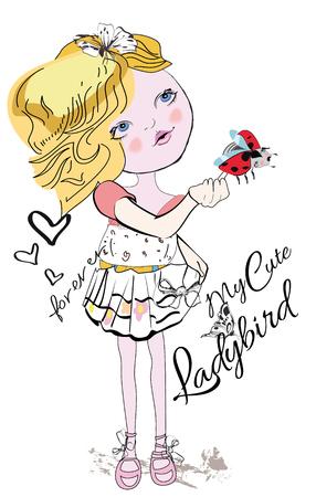Girl with a ladybird.