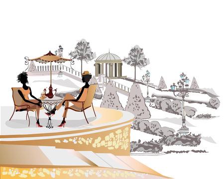 Mode mensen in het restaurant. Koffie van de straat met bloemen in de oude stad park. Vector Illustratie